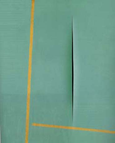 Concetto_Spaziale-waterpaint_and_oil_on_canvas_by_Lucio_Fontana_1964-55x46cm