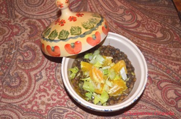 Lentils with oranges and celery