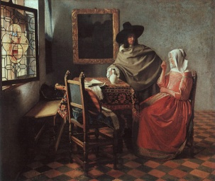 the-girl-with-a-wineglass-Jan Vermeer (1632-1675)