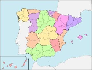 mapa politico de españa sin nombres