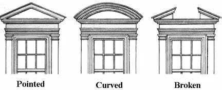 Various pediment style