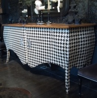 Pied de poule painted Lowboy- Found on The Paris Apartment-Pinterest