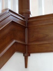 Stair railing and decorative skirt - http://freeportwoodworking.com/project/interior-trim/