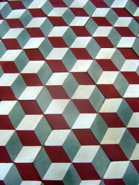 Cement tiles-Found on:http://www.theantiquefloorcompany.com/Products_for_sale/Carreaux_de_ciments_floors_less_than_5m2_53sq_ft_for_sale/3D_Hexagonal_Carreaux_de_ciment_floor_c_1910.html