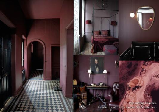 Inspirations Marsala couleur Pantone de l'année 2015 Intérieurs