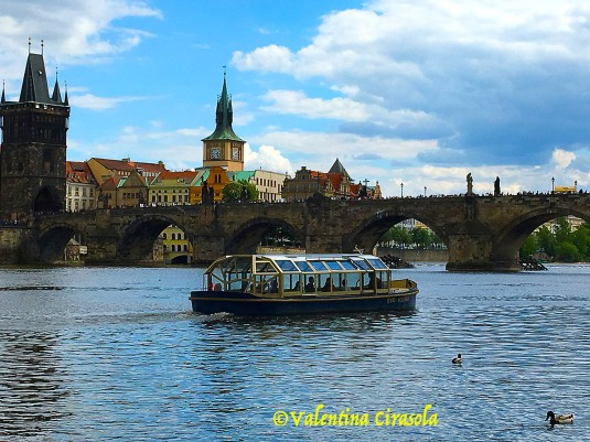 Tourists Boat on Charles Bridge