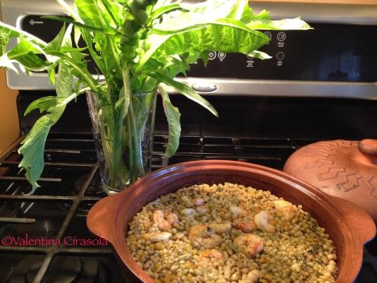 Shrimps with Fregola and Dandelion